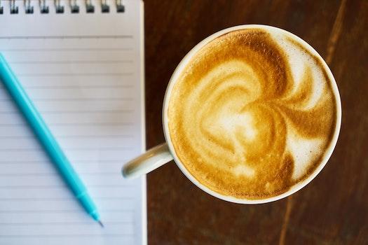 Free stock photo of coffee, pen, cappuccino, blur