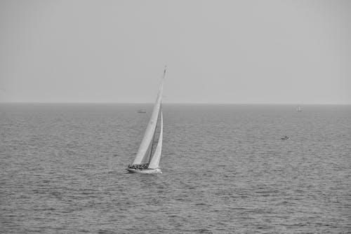 คลังภาพถ่ายฟรี ของ การเดินเรือ, ขาวดำ, ทะเล, มหาสมุทร