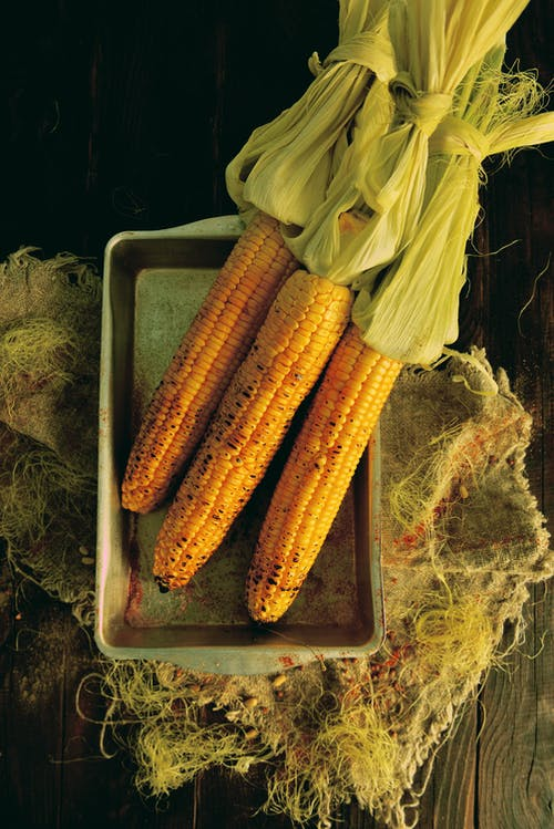 Corn on Stainless Steel Tray