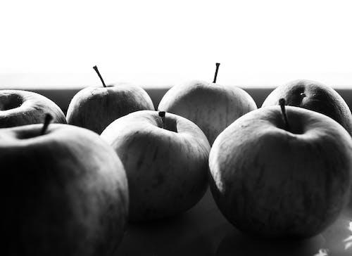 Free stock photo of apple fruit, apples, b amp w