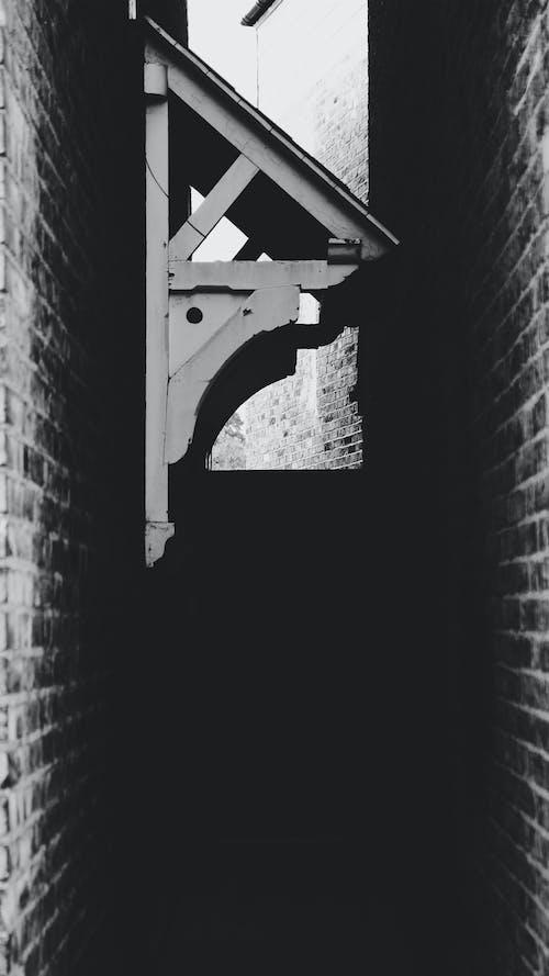 Free stock photo of blackandwhite, door, wall