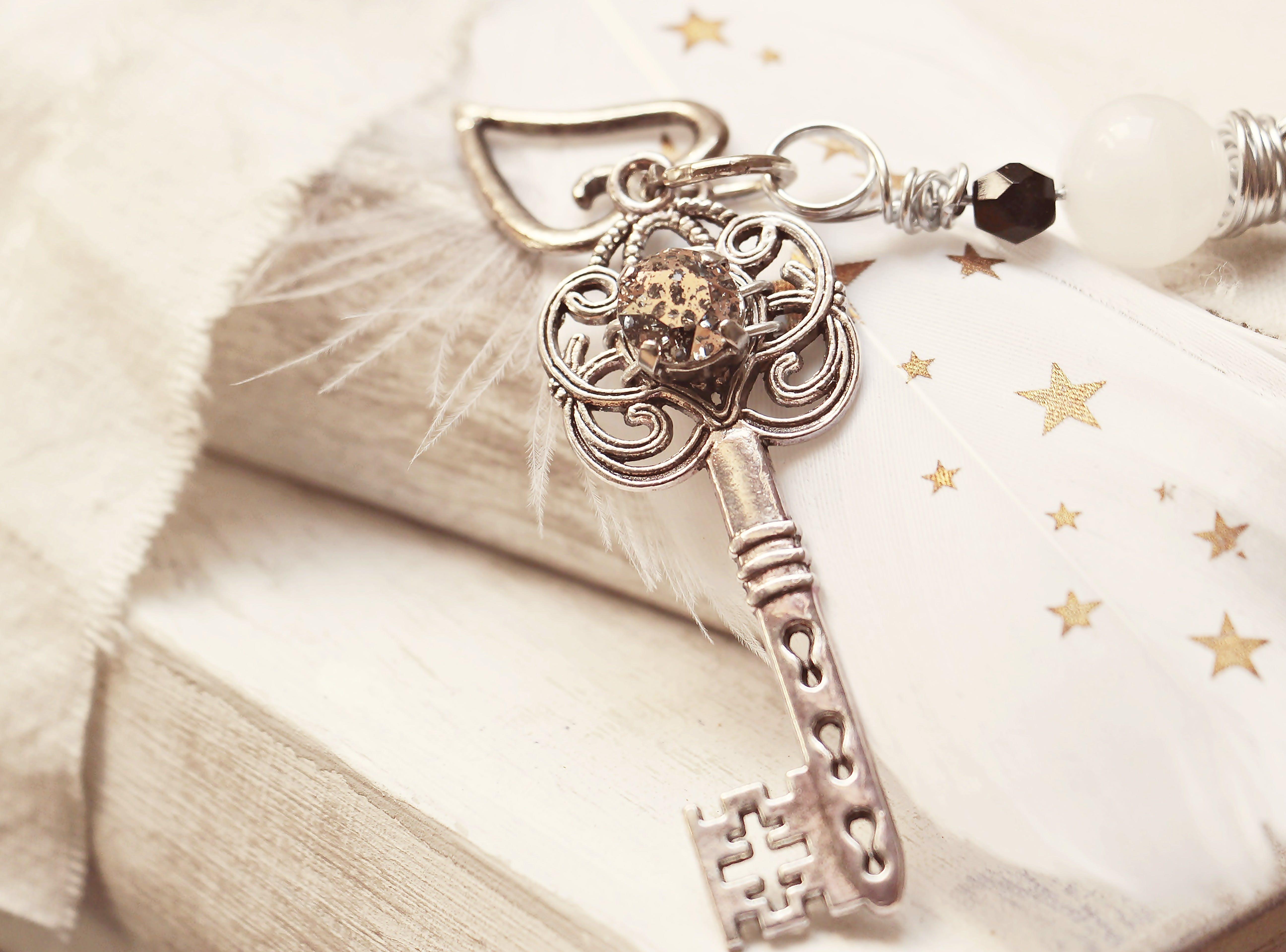 Silver Skeleton Key on White Surface