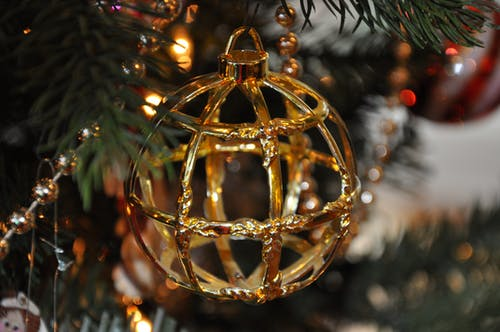 Gold Cage Bauble Hanged on Green Christmas Ornament