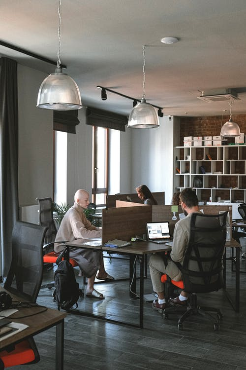 Interior of spacious contemporary workplace with employees sitting on computer chairs and working on laptops at tables
