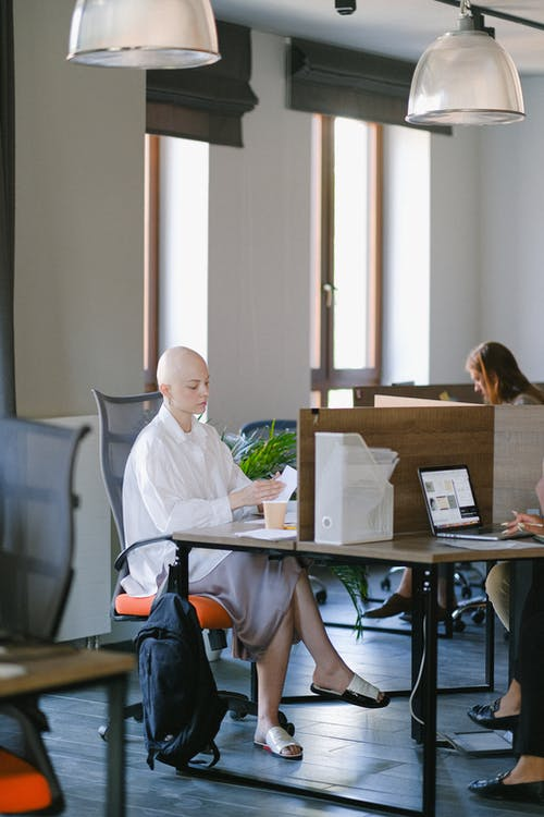 Full body of focused bald woman reading documents while sitting at table in open space with colleagues