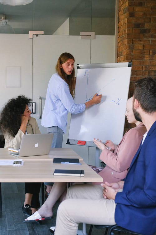 Pensive employee in formal clothes drawing graph on flipchart while explaining project to coworkers during seminar in workspace in daytime
