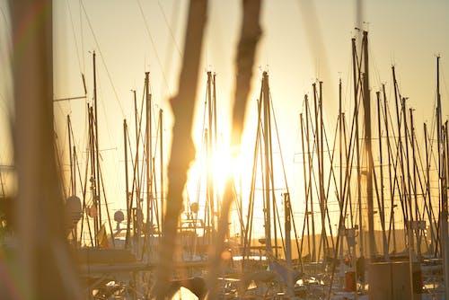 คลังภาพถ่ายฟรี ของ ดวงอาทิตย์, ท่าเรือ, พระอาทิตย์, เรือ