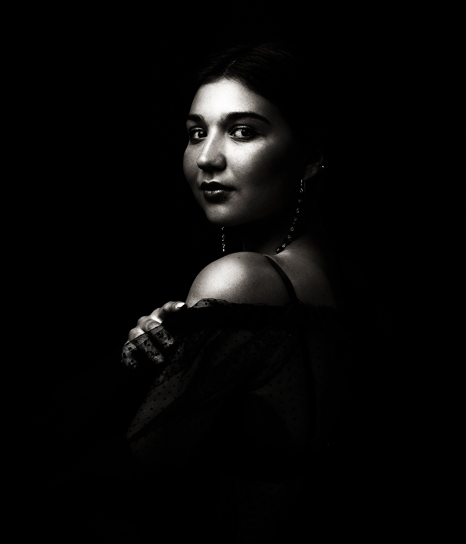 Free stock photo of black-and-white, woman, girl, eyes