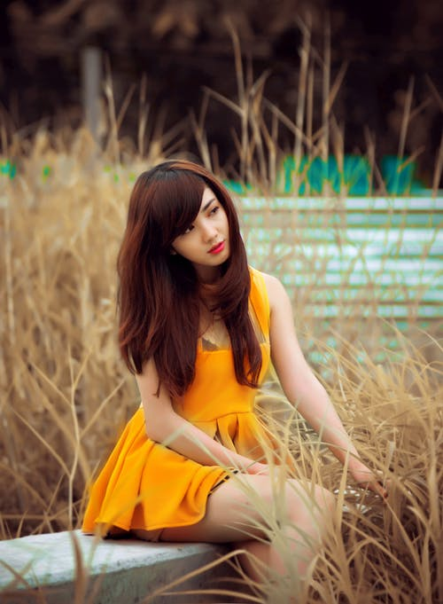 Woman Wearing Flare Dress Sitting on Bench Surrounded by Grass