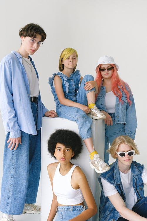 Multiethnic teenagers looking at camera
