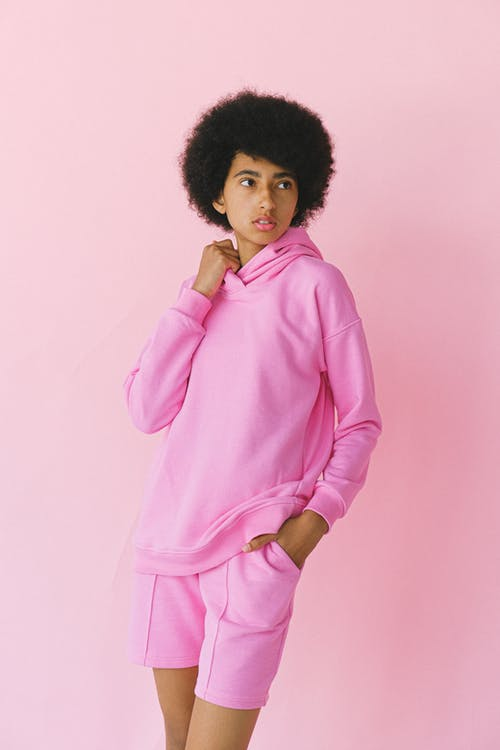 Black woman in pink clothes