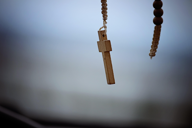 Brown Wooden Cross Pendant Necklace