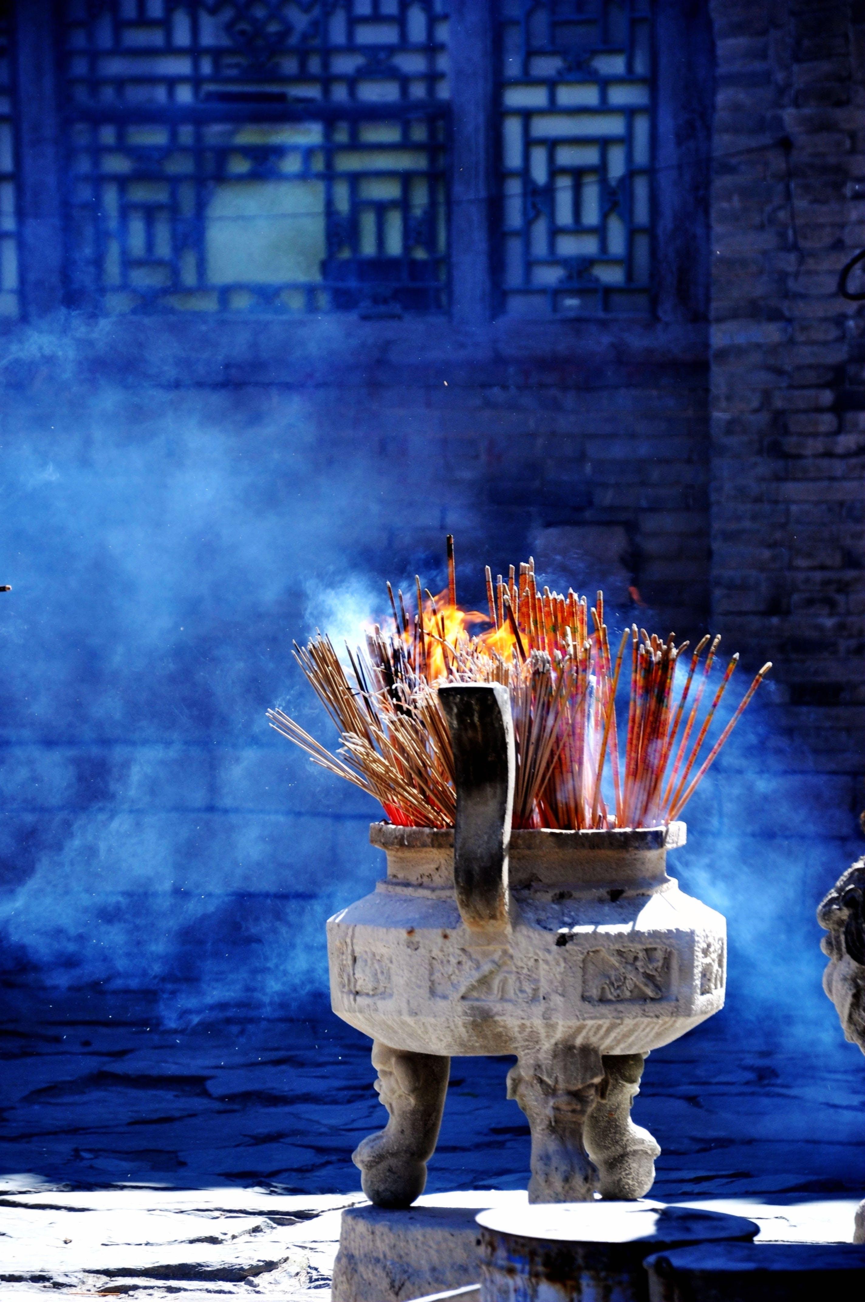 Free stock photo of smoke, Buddhism, incense burner