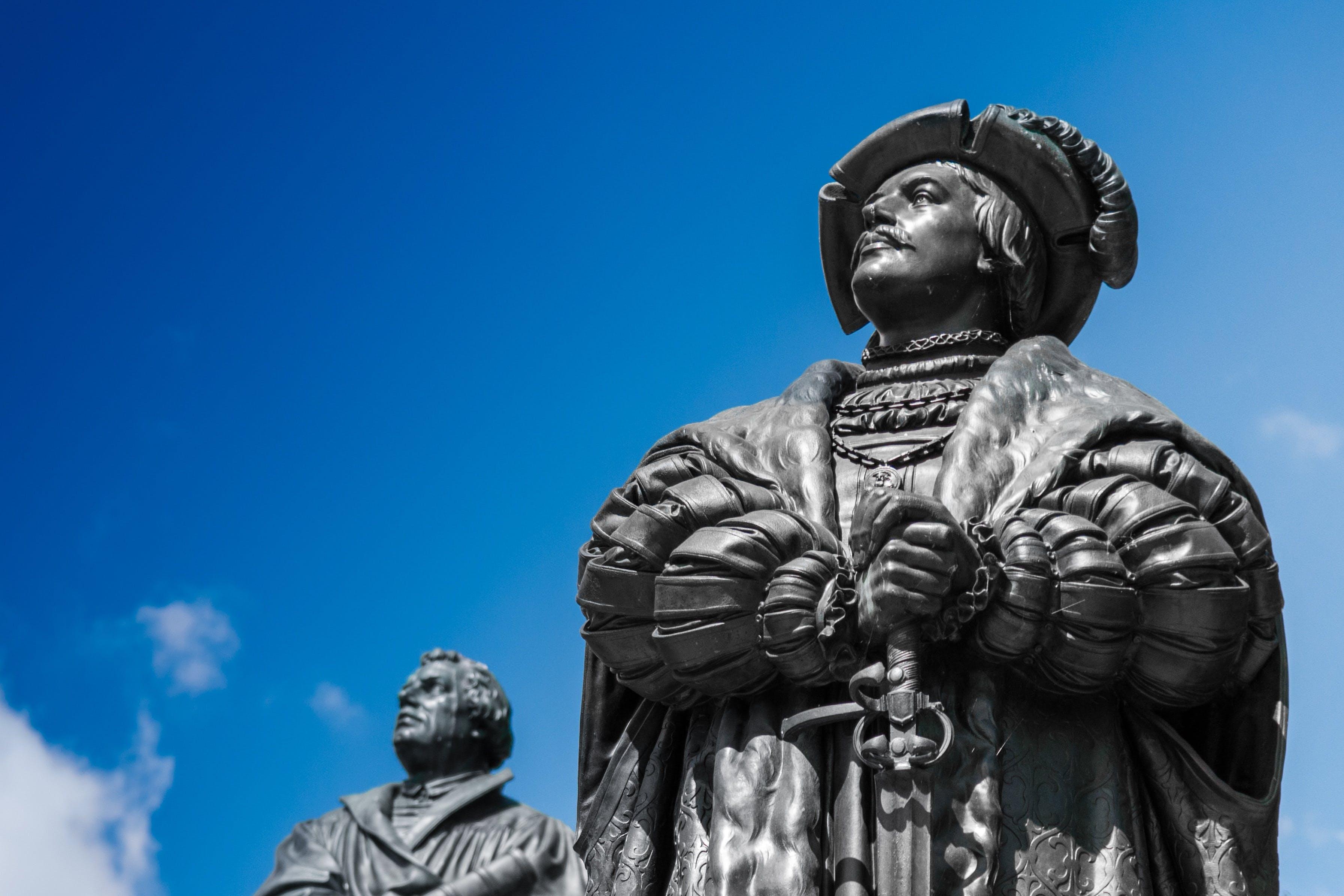 Two Men Concrete Statues