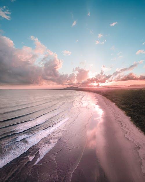 Wavy ocean near greenery beach under cloudy sky at sunset
