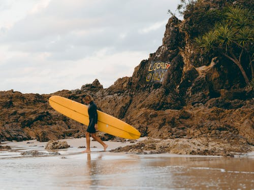 Person Holding Yellow Surfboard Walking on Beach