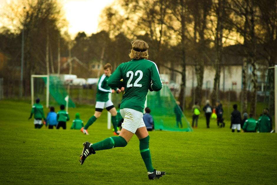 athletes, field, football