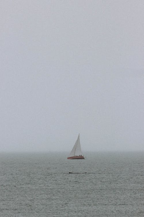 Lonely boat sailing in sea