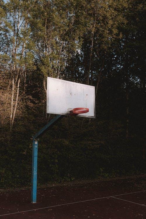 Shabby basketball hoop on sports ground