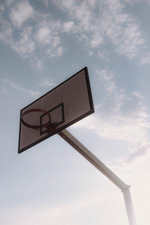 Street basketball hoop against sky