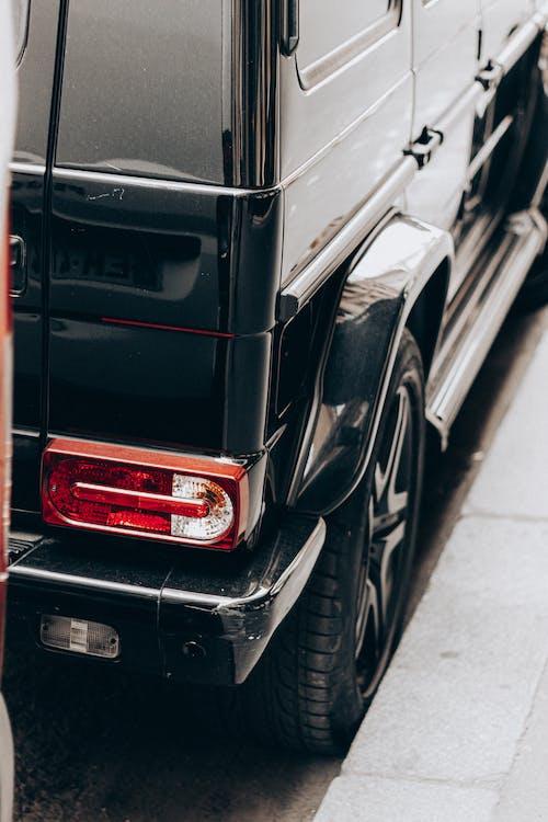 Black car parked on street