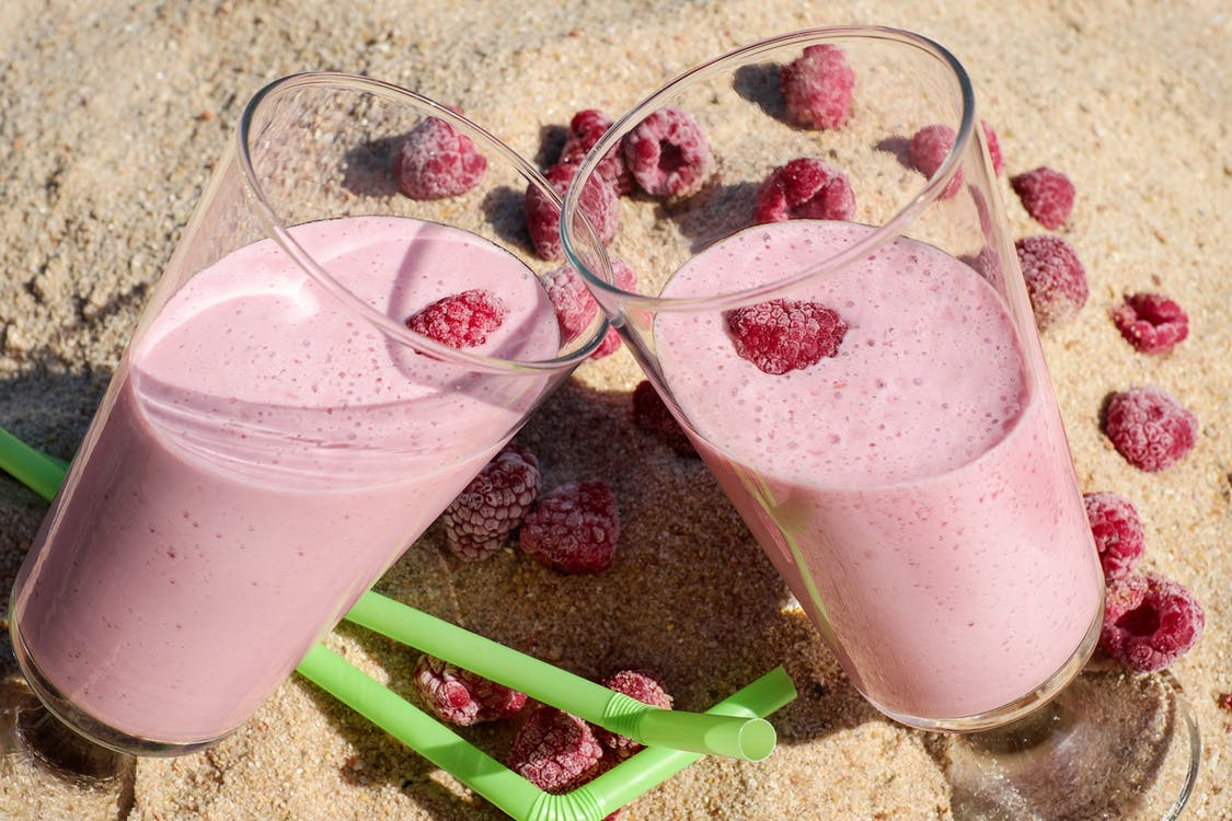 Two Glass Strawberry Shakes