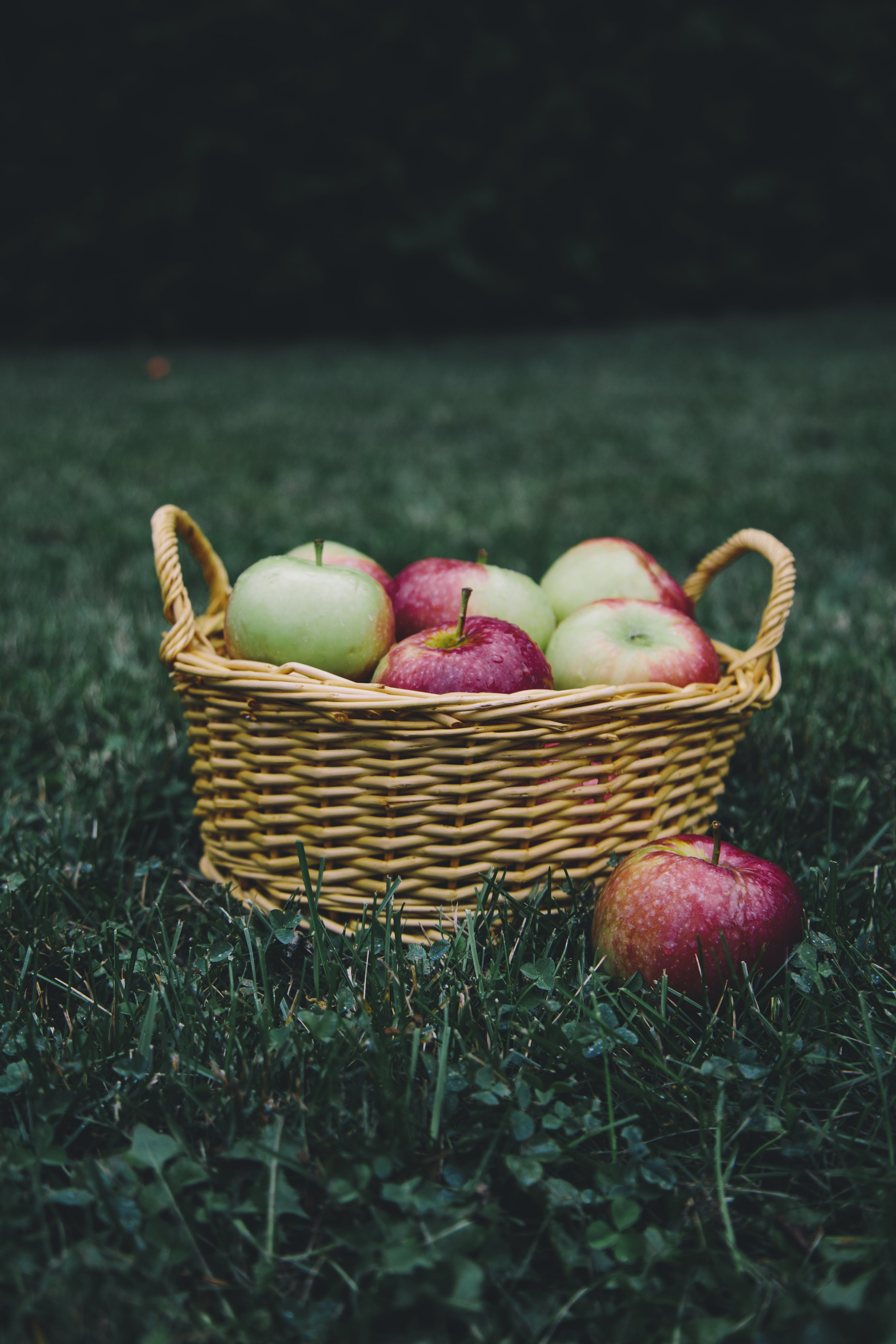 Brown Wicker Basket With Apples