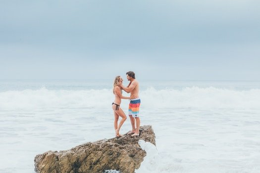 Free stock photo of sea, beach, bikini, couple