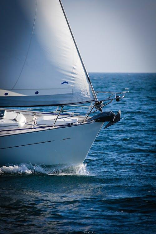 båt, blå himmel, bølger