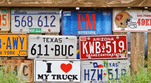 Assorted Car License Plates