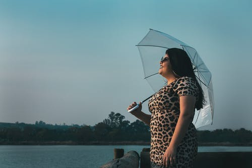 Woman in Brown and Black Leopard Print Dress Holding Umbrella Near Body of Water