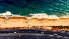 sea, bird's eye view, road