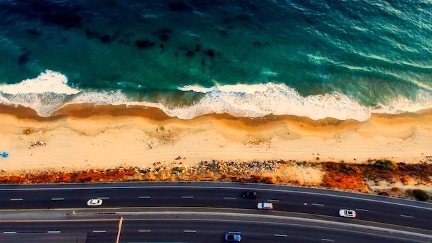 Free stock photo of sea, bird's eye view, road, beach