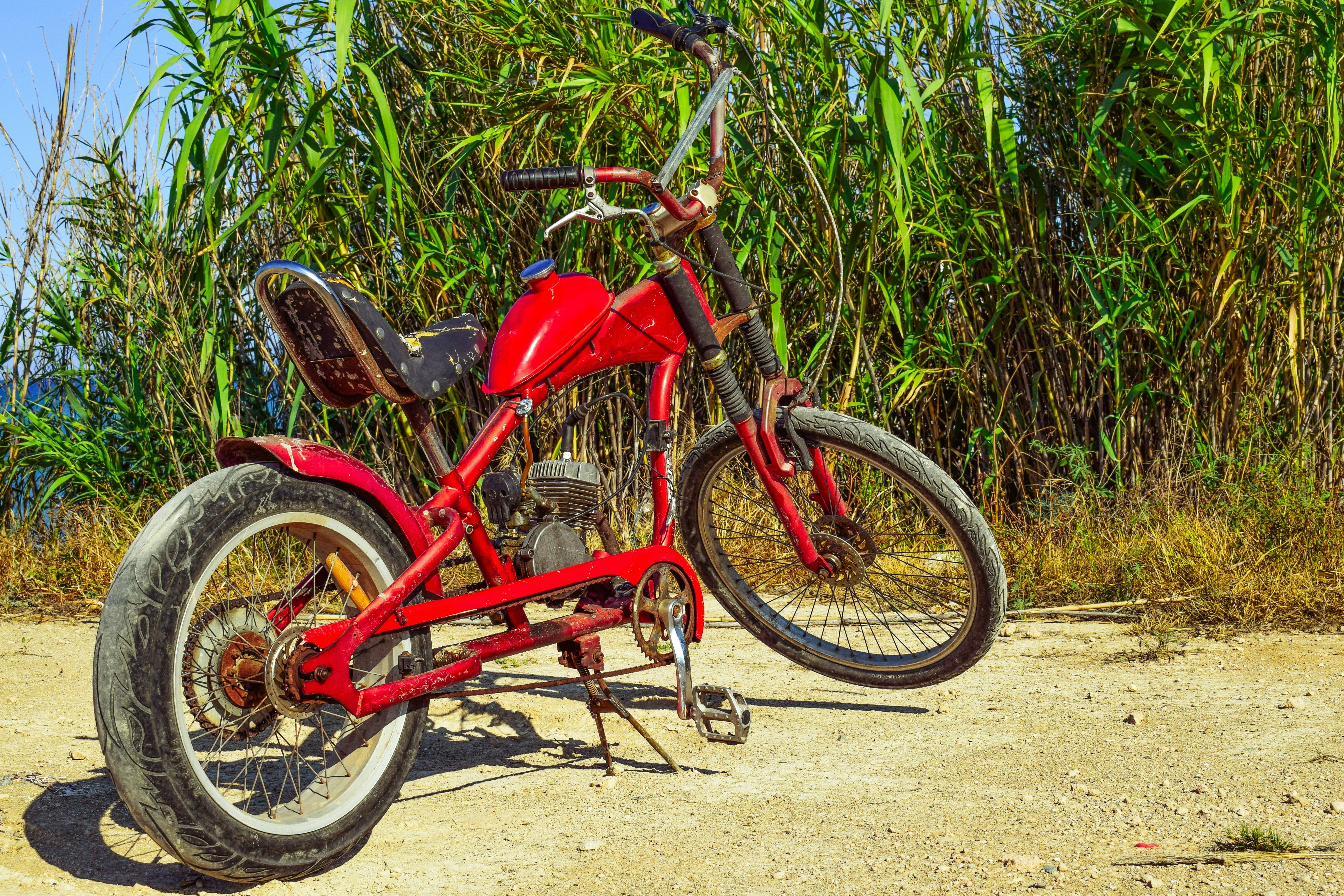 Free stock photo of red, countryside, vehicle, motorbike