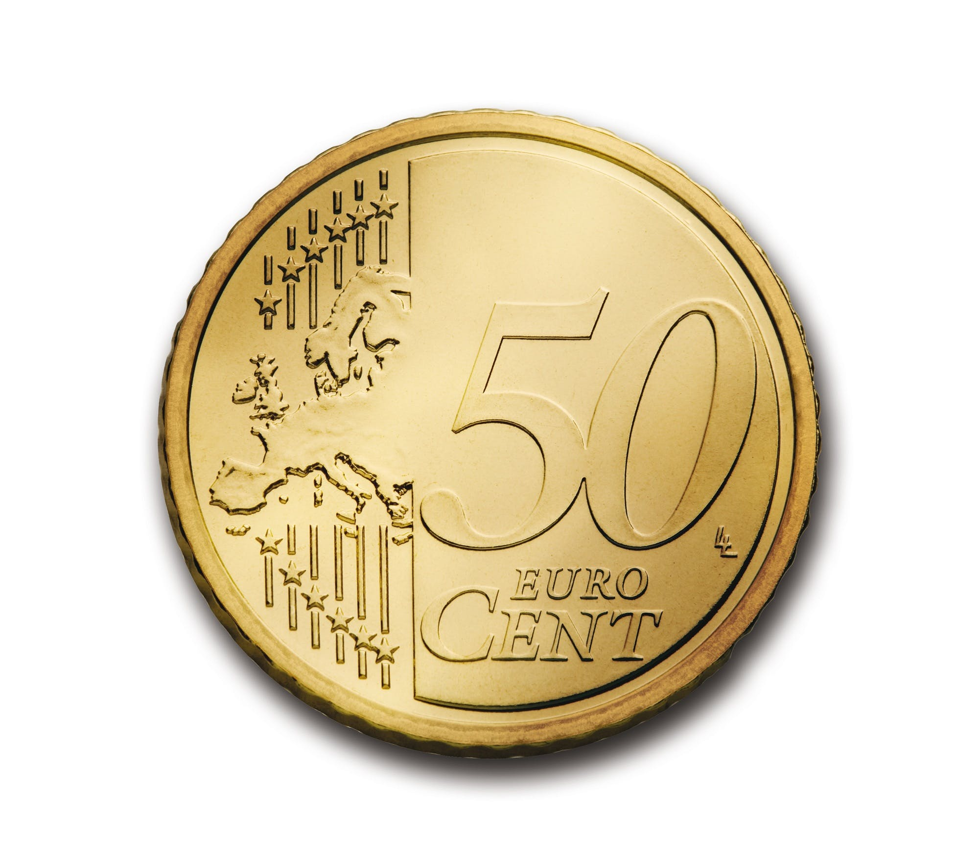 Round Gold-colored 50 Euro Cent Coin on White Surface