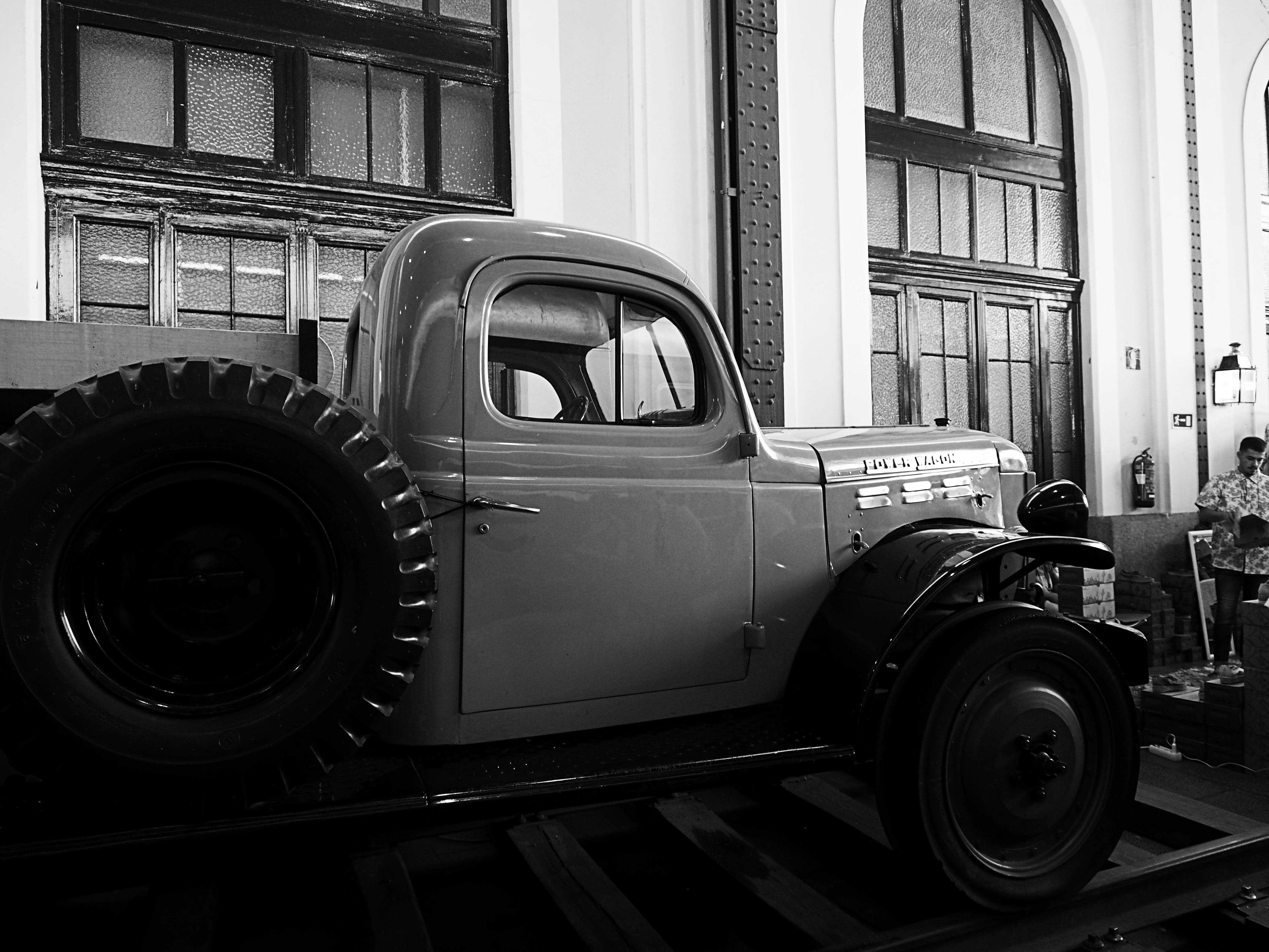 Vintage Pickup Truck in Greyscale Photography