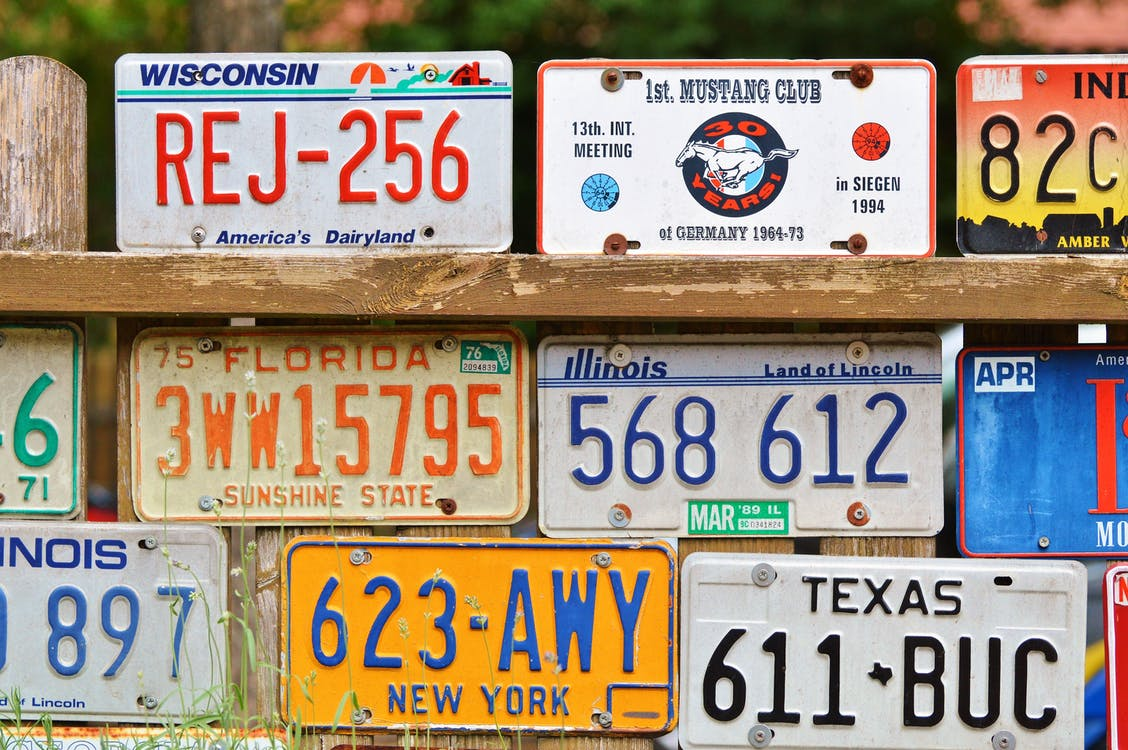 american number plates, art, car shield
