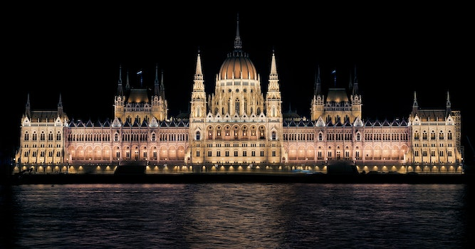 Hungarian Parliament Building View during Night