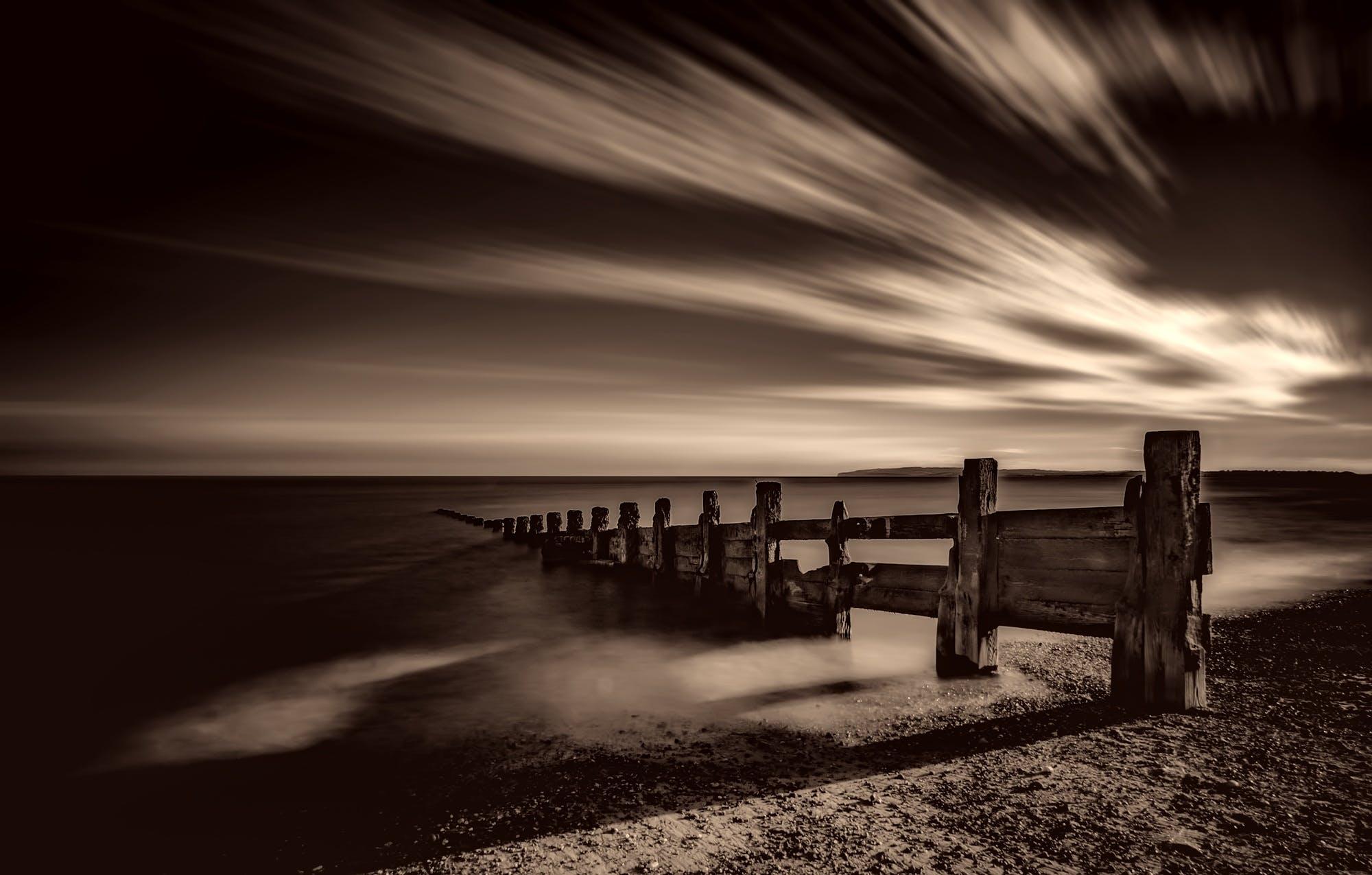 Free stock photo of jetty, sea, black-and-white, sky