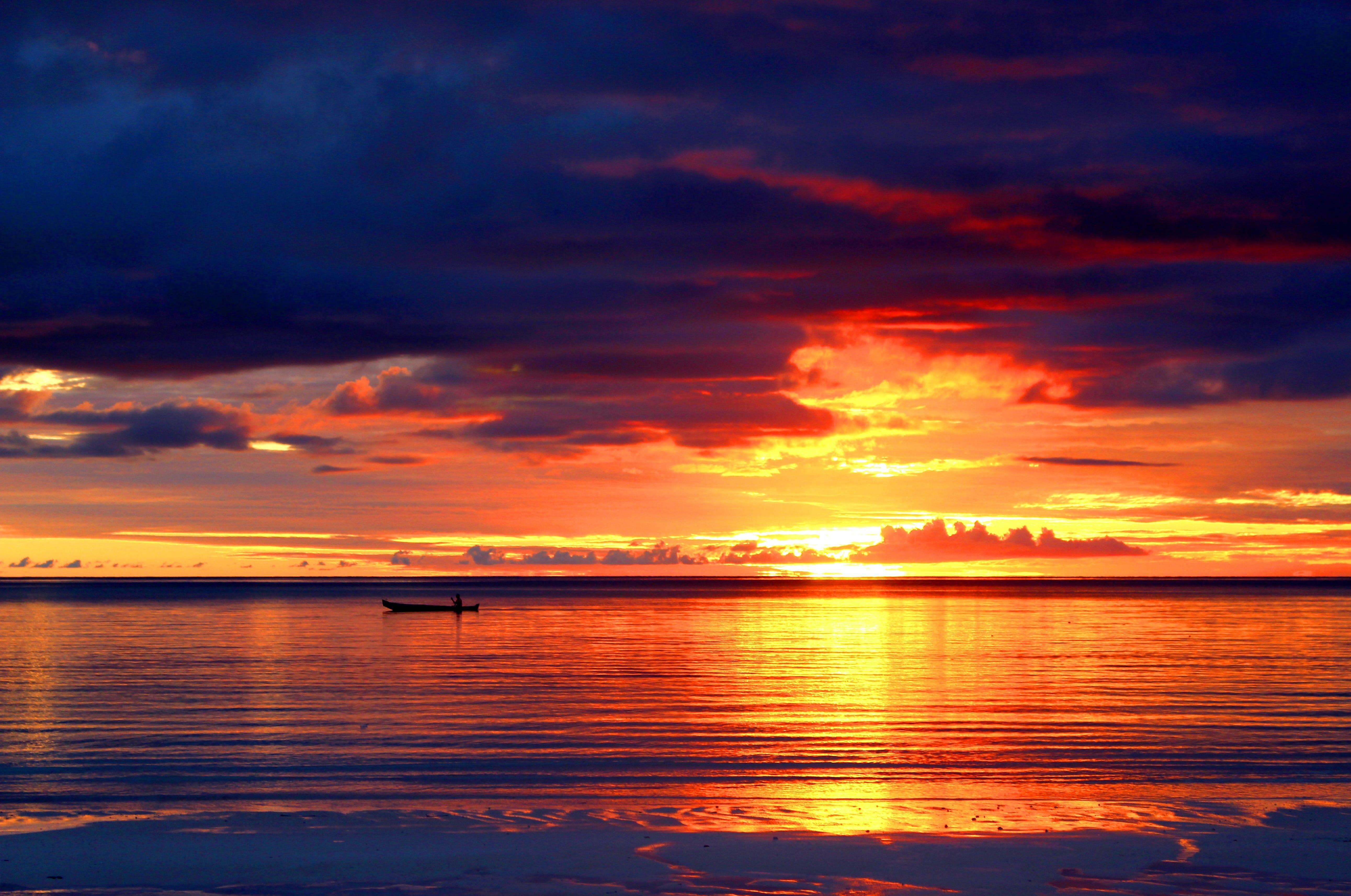 aften, bagbelyst, hav