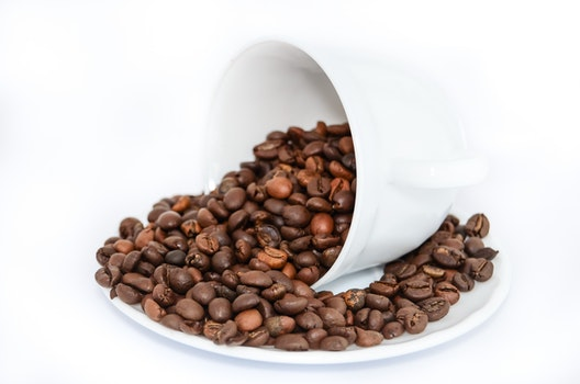 Coffee Beans on White Ceramic Mug and Plate