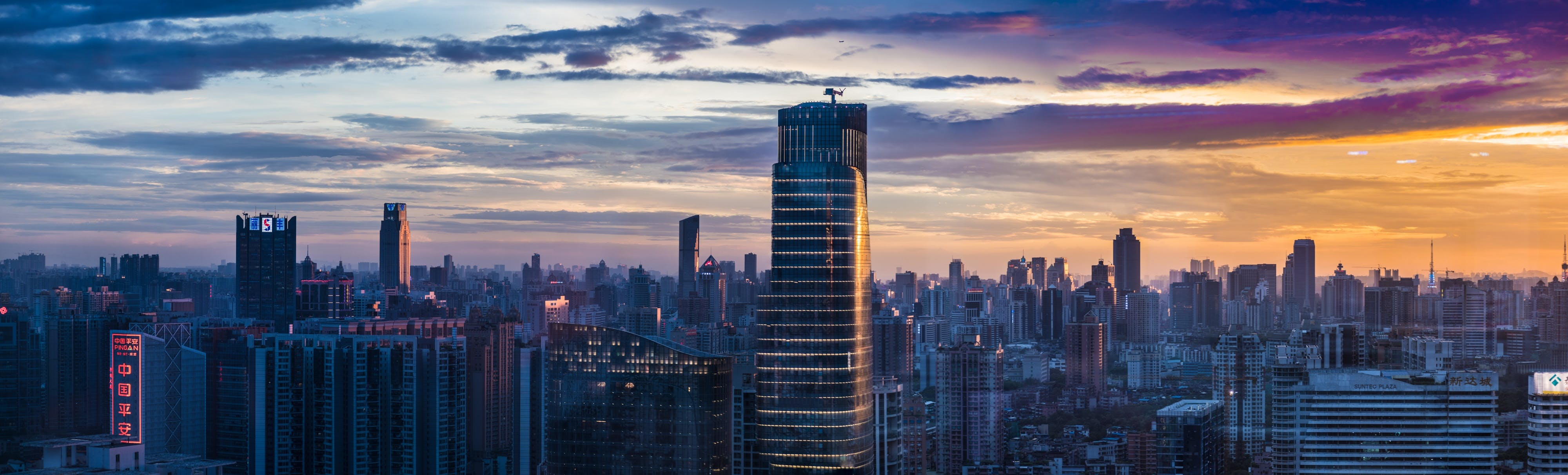 Panoramic Photography of High-rise Buildings during Orange Sunset