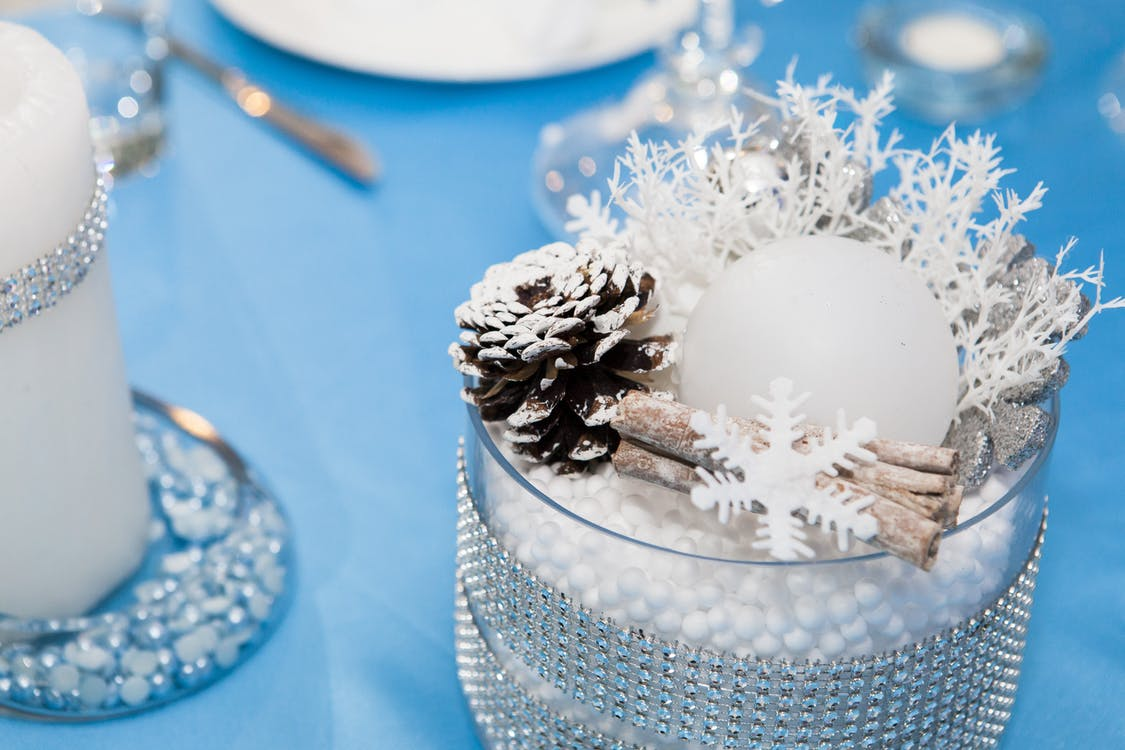 Pine Cone and Snowflake on Vase