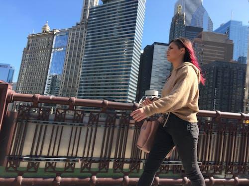 Free stock photo of bridge, chicago, dyed hair, person walking