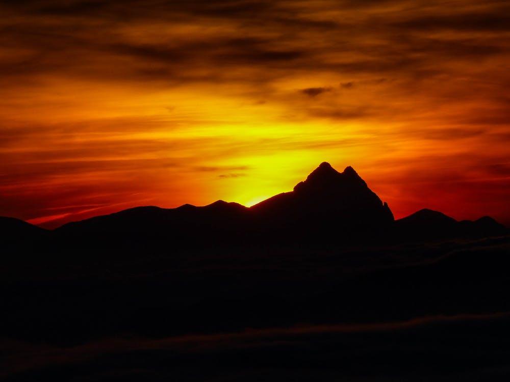 горы, живописный, закат