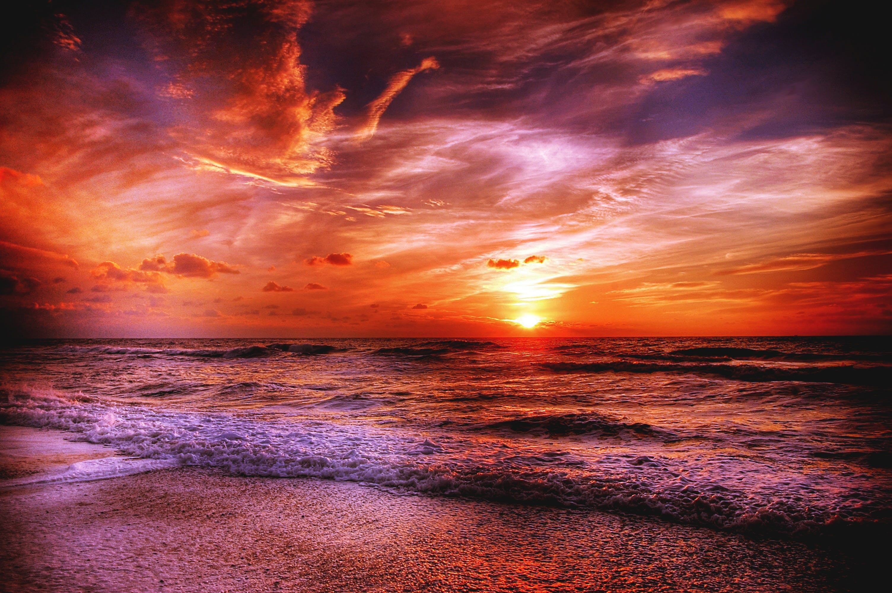 afterglow, beach, by the sea