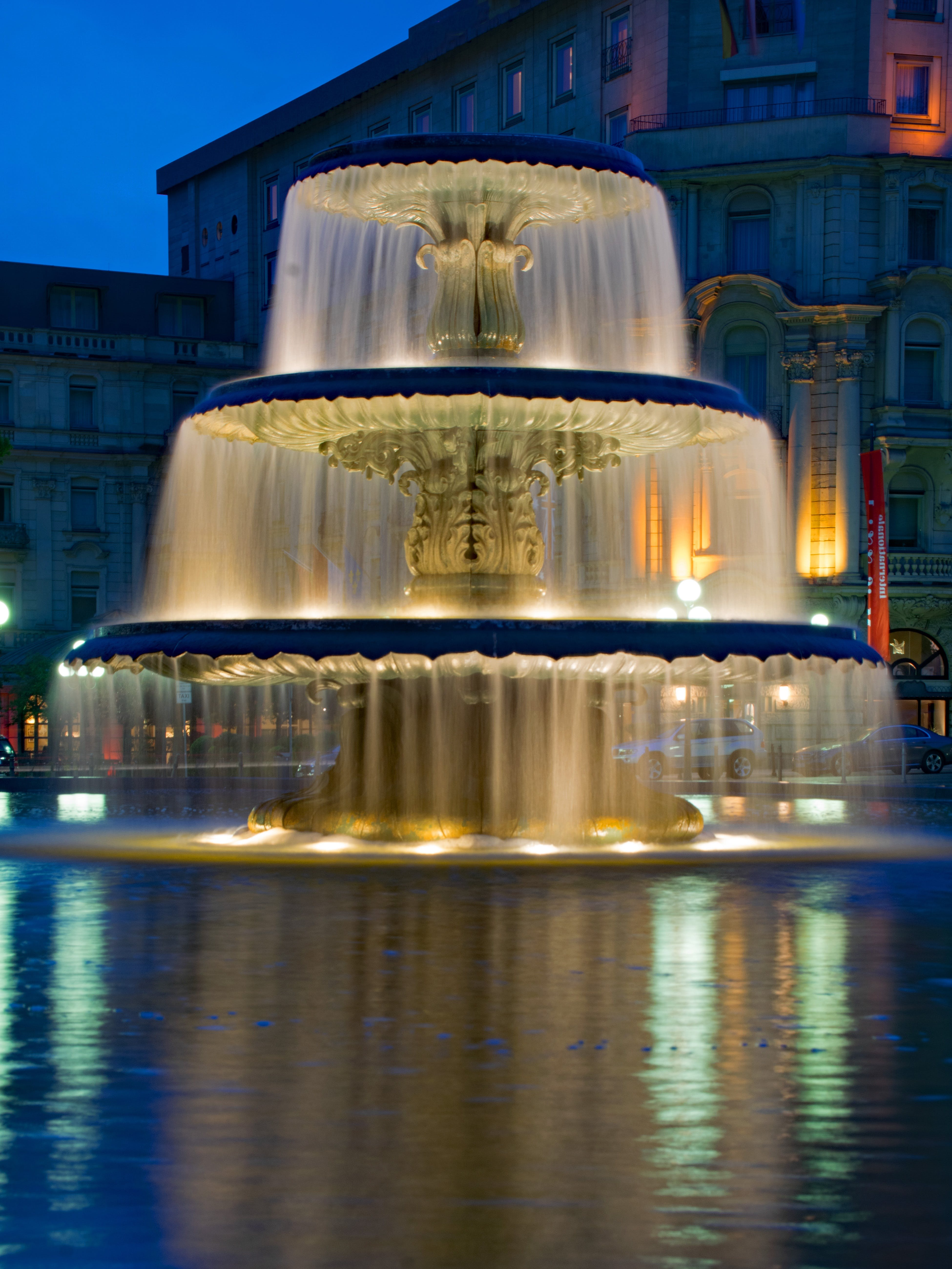 Yellow Lights on Water Fountains