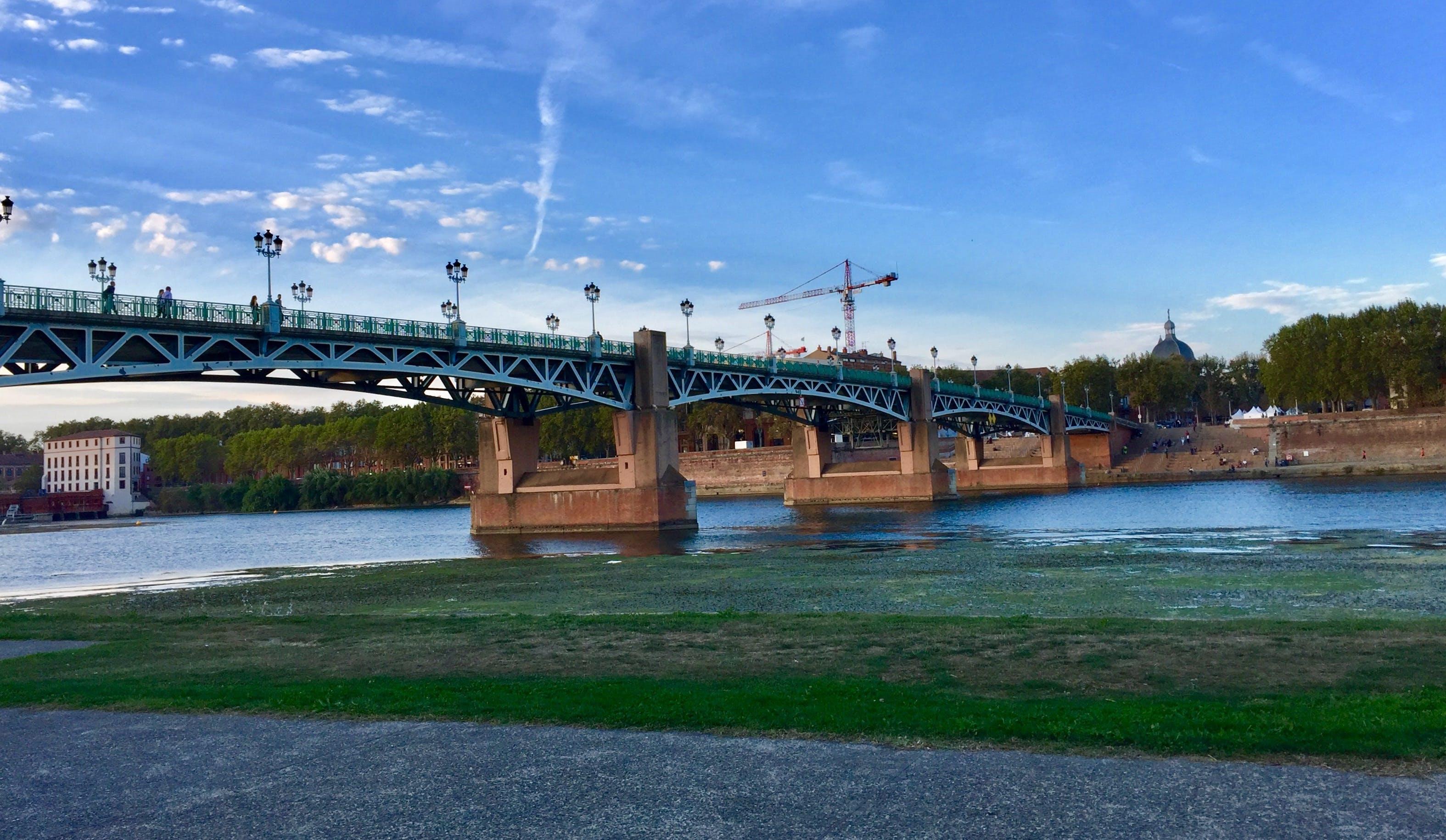 bridge, city, clouds