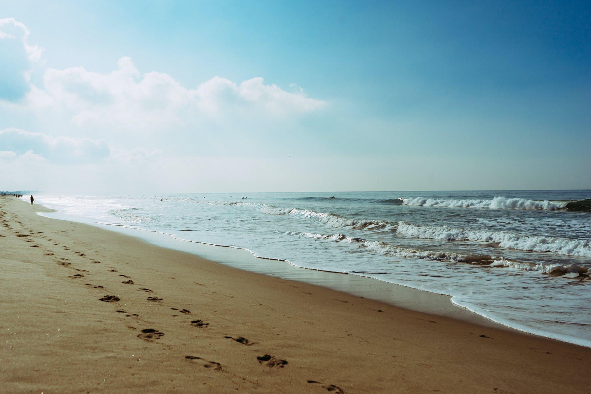 beach, footprint, salt water