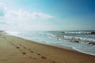 sea, beach, footprint